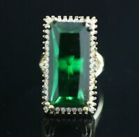 TURKISH HANDMADE EMERALD STERLING SILVER 925K RING SIZE 6 7 8 9 10