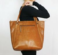 100% Genuine Cow Leather Womens Large Kylie Bag Plain Shoulder Strap Handbag Tan