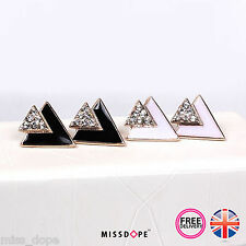 NEW SMALL TRIANGLE BLACK WHITE CRYSTAL STUD GOLD EARRINGS WOMENS GEOMETRIC BOHO