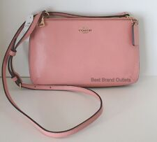 COACH-Leather Lyla Double Gusset Crossbody Messenger Bag 57135E Pastel Pink-NWT