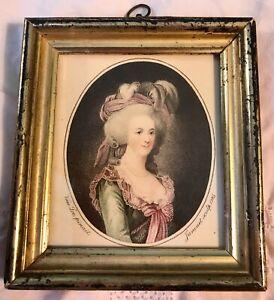 ANTIQUE LATE C18th GEORGIAN PORTRAIT MINIATURE PRINT MARIE ANTOINETTE FRAME 1785