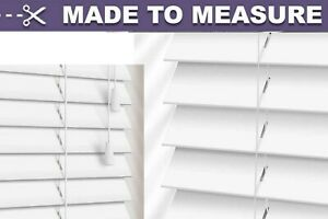 WHITE FAUX WOOD MADE TO MEASURE WINDOW VENETIAN BLINDS 50MM SLAT WITH STRINGS