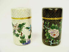 TWO SMALL CHINESE FLORAL BRASS ENAMELED CYLINDRICAL CLOISONNE CONTAINERS