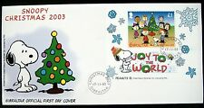 2003 GIBRALTAR SNOOPY FDC CHRISTMAS PEANUTS STAMPS CHARLIE BROWN CHARLES SCHULZ