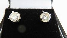 GENUINE MOISSANITE DIAMOND STUDS EARRINGS 9 CARAT SOLID WHITE GOLD 6.3mm G vvs1