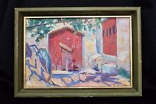 City Farm Building Impressionist Oil Painting M.CORTINI  VIVI Mystery Artist Snd