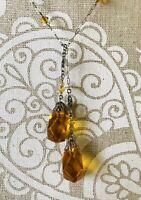 ⭐️Vintage Czech Handmade Sterling Silver Chain Amber Glass Lariat Necklace