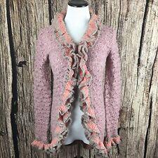 Free People Open Knit Cardigan Pink Purple Ruffle Boho Hippie Festival Sweater S