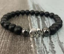 8mm obsidian Bracelet Tibet silver men Unisex Bless Meditation Buddhism Bead