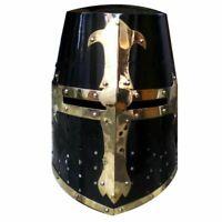 Medieval Crusader Helmet Templar Knight Helmet With Black Finish Brass Design