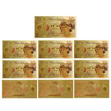 WR 10X Great Britain New £10 Princess Diana Ten Pound Note 24K Gold Banknote COA