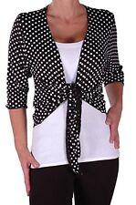 Womens 3/4 Sleeve Polka Dot Tie Front Casual Bolero Cropped Cardigan Shrugs Tops
