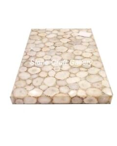 """48"""" x 30"""" White Agate Coffee Table Top Natural stones Handmade Work Home Decor"""