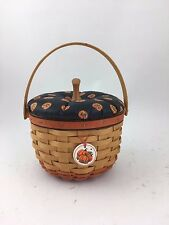 Longaberger 1996 Small Pumpkin Basket w Lid Tie On and Protector