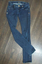 MARCIANO WOMENS SZ 26 MED WASH SKINNY STRAIGHT LEG GOLD LOGO THREAD DENIM JEANS