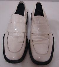 Vintage Mare Uomo Vero Cuoio Shoes White Patent Leather 42 Johnny Cash ?