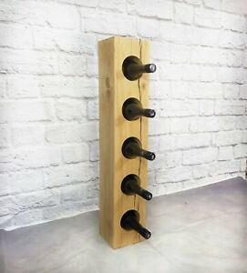 Stunning SOLID OAK Tower Wine Holder Storage Heavy rack Rustic 15cm x 15cm