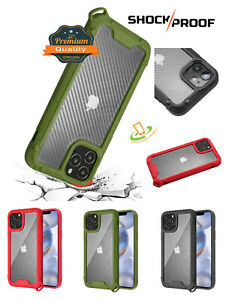 For iPhone 12 / Pro Max Mini Clear Carbon Fiber Hybrid Rugged Shock Case Cover