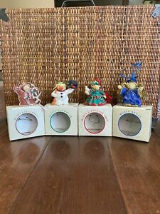 Vintage Muffy Vanderbear Christmas Ornament Lot (4) Bears New In Boxes