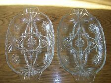 VINTAGE ANCHOR HOCKING EARLY AMERICAN PRESCUT DIVIDED RELISH TRAYS