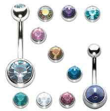 Stainless Steel - Belly Bar - Jewelled Gem - Navel Button Ring 1.6mm 8 10 12mm