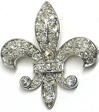 Antique Victorian Edwardian Diamond Fleur De Lis Pin / Pendant Platinum / Gold