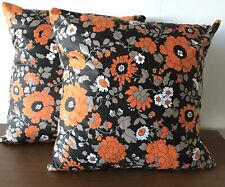 Vintage Cushion Covers X 2 1960s/1970's Mid Century Brown & Orange Floral 16""