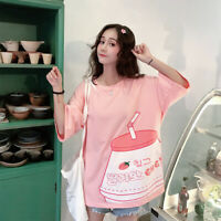 Women's T-shirt Tops Tee Short Sleeve Loose Casual Japanese Kawaii Harajuku Pink