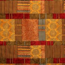 MOROCCAN PATCHWORK TAPESTRY TERRACOTTA CUSHION SOFA UPHOLSTERY FABRIC