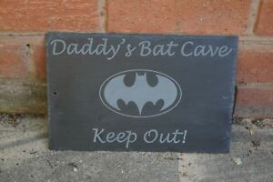 BAT CAVE SIGN XMAS GIFT IDEA PERSONALISED SLATE SIGN, BATMAN SIGN, HOUSE SIGN