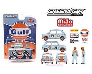 Greenlight 1:64 Mijo Exclusives 1967 Austin Mini Cooper GULF + Figure