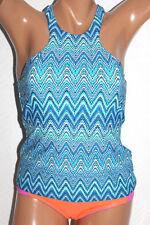 *NEW Island Escape Blue Saint Martin High Neck Swimsuit Tankini Top Size 16 #I4
