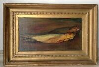Antique Swiss Oil Painting Still Life with CARP signed MAX ERNST EISENHUT c1930