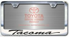 NEW Toyota Tacoma Chrome License Plate Frame Engraved Script Letters (Set of 2)