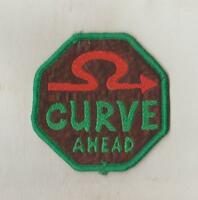 HUMOUR  WOVEN  SEW ON CLOTH PATCHES/BADGES   SO92   CURVE AHEAD   SIZE 7cm x 7cm
