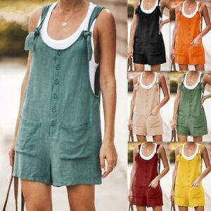 AU Womens Summer Linen Cotton Jumpsuit Dungarees romper Shorts Playsuit Overalls
