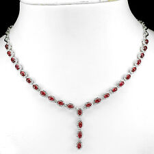 NATURAL OVAL CAB 5x3mmTOP BLOOD RED RUBY-W CZ STERLING 925 SILVER NECKLACE 19.5