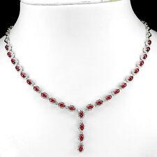 Natural Oval Cab 5 X 3 mmTop Roja Sangre Ruby-W 925 Collar de plata esterlina CZ 19.5