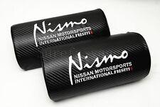 2Pcs Nismo Black Carbon Fiber Embroidery Car Seat Neck Cushion Pillow Headrest
