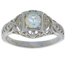 0.50 Ct Mercury Mist Mystic Topaz & Diamond Round Ring .925 Sterling Silver