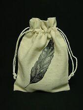 New 6x4 Muslin Canvas Gift Bag Bird Feather Tea Herb Gris Gris Sack Voodoo Charm