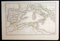 1858 Dussieux Antique Map of Southern Europe & Northern Africa - Punic Wars