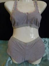 Grey cotton no wire sports bra & briefs knickers active wear Size M