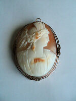 FABULOUS LARGE ANTIQUE SHELL CAMEO BROOCH / PENDANT, 10K MOUNTING, c. 1900
