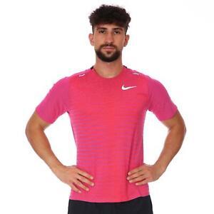 Nike Men's TechKnit Future Fast Vivid Purple Slim Fit Running T Shirt Size M