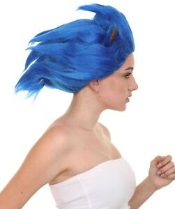 Women's Spiked Blue Cosplay Hedgehog Wig With Ears HW-6705
