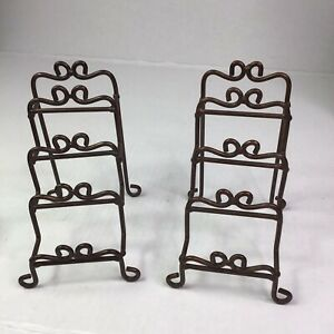 2- Brown Metal Mini Decor Plate Rack Stands 4 Slots (Plate Not Included)