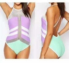 Jaded London Purple Pastel High Neck Color Block One piece swim UK 14 US 10 nwt