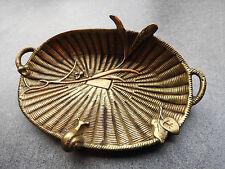 ancien vide poche en bronze en forme de panier d'osier ,escargot coupelle XIXème