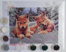 Bead Embroidery kit Wolf Cubs Needlepoint Handcraft Beaded cross stitch kit
